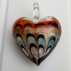 MURANO Glass Pendant Silver Foil Heart 36mm